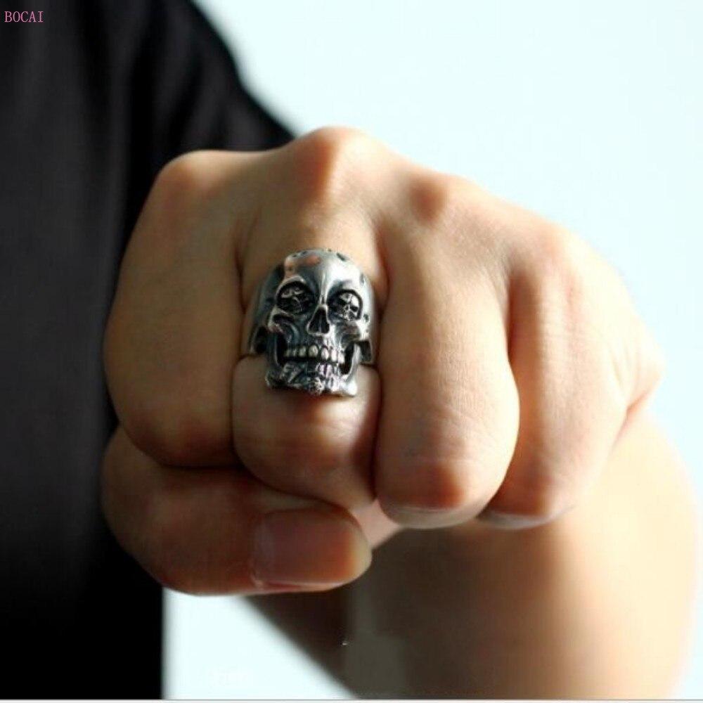 2019 кольцо Король скелетов , Серебро s925 пробы, тайское серебро, ручная работа, властное ретро кольцо для мужчин, указательный палец, большие к... - 2