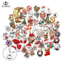 50 шт./лот Рождество 18 мм оснастки ювелирные изделия смешанные металлические стразы кнопки Fit браслет с украшением в виде кнопки ожерелья