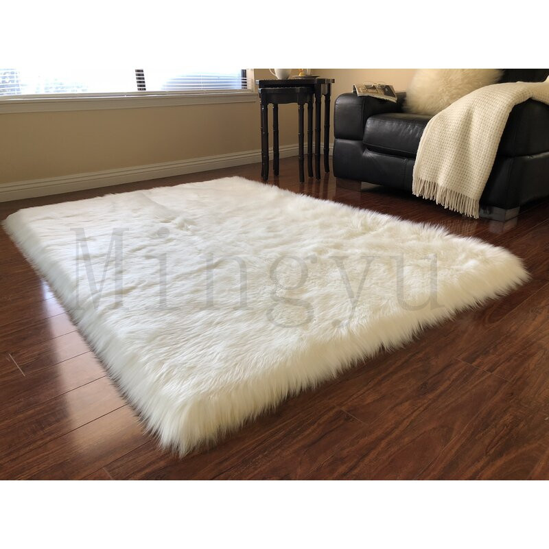 Artificial Fur Living Room Carpet Rectangular Bedroom Fluffy Soft Yoga Warm Pad Luxury Color  Ivory Sheepskin Carpet Home