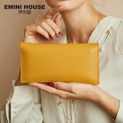 EMINI البيت سبليت جلدية بيفورد محفظة سعة كبيرة المرأة المحفظة حامل بطاقة منظم السيدات محفظة محفظة طويلة