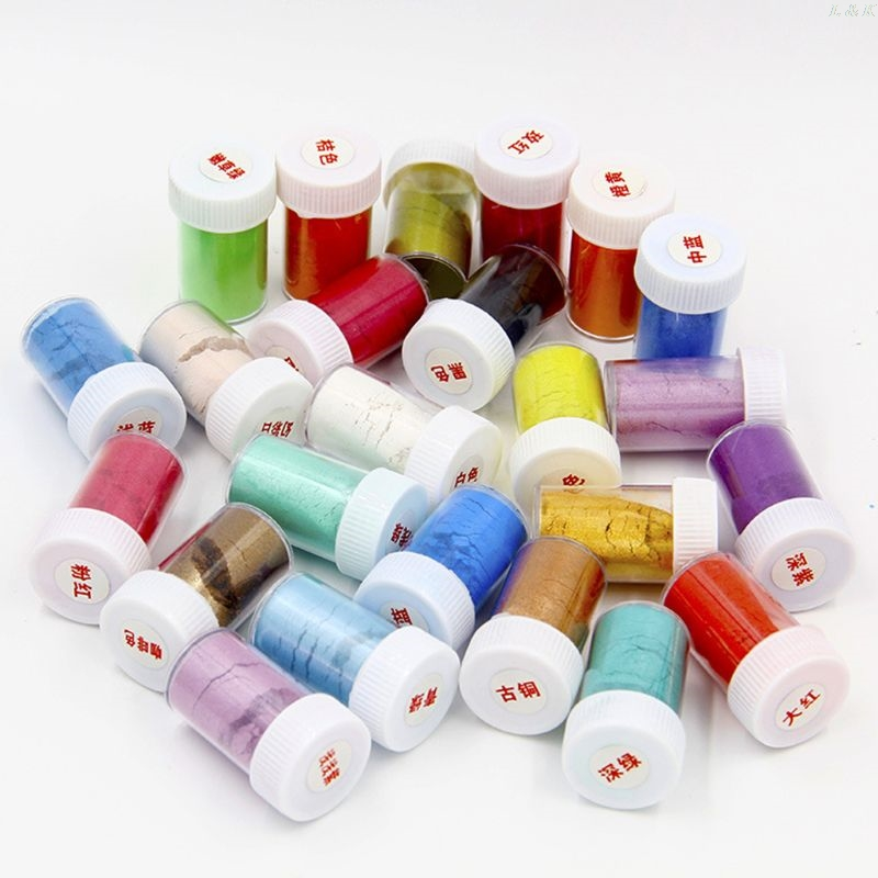 24 Pcs/set Pearlescent Powder Mica Glitter Sliam DIY Crafts Making Epoxy Pigment L29K
