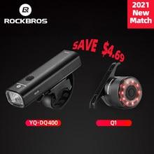 Rockbros-Farol de 400lm para bicicleta com USB, lâmpada frontal para guidão de MTB luz traseira recarregável de segurança para ciclismo