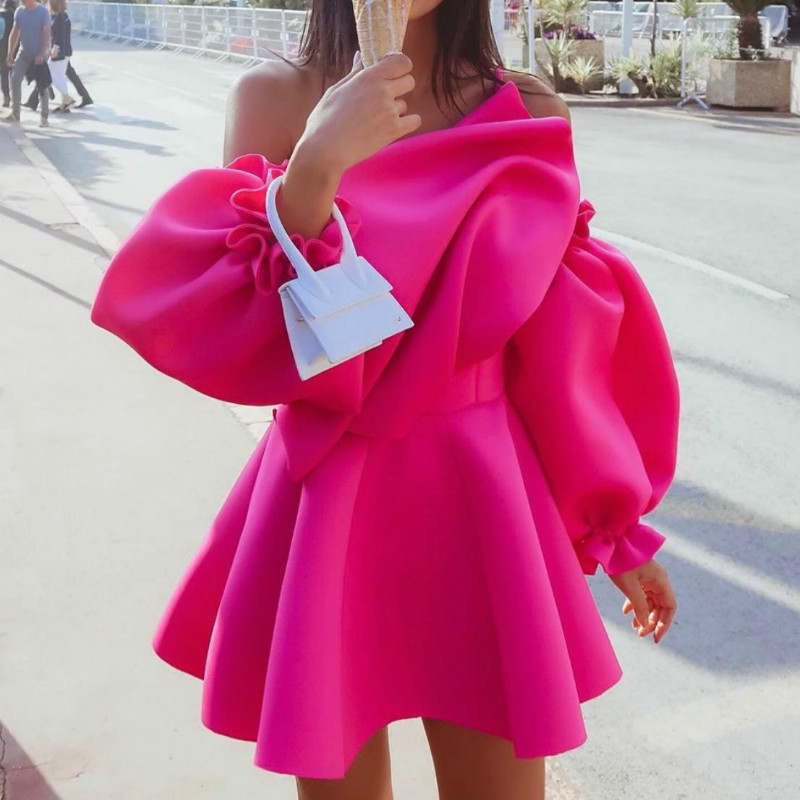 Missord 2019 Sexy Irregular Neck Solid Color Ruffles Party Dresses Puff Sleeve Sexy Women Dresses FT19678