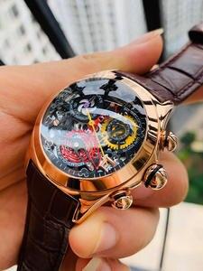 Ladies Fashion Watches Movement Skeleton Swiss Tiger/rt Luxury Rose-Gold Date Ronda RGA7181