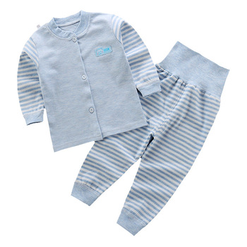 New baby boy set Unisex Combed Cotton Striped  boys clothes high waist protective babys underwear soft girl clothing