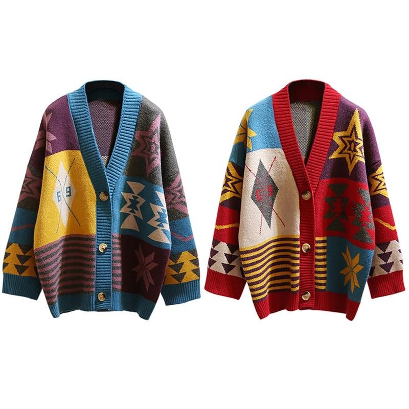 Женский Осенний вязаный кардиган, винтажный свободный цветной свитер, зимняя теплая куртка в стиле панк