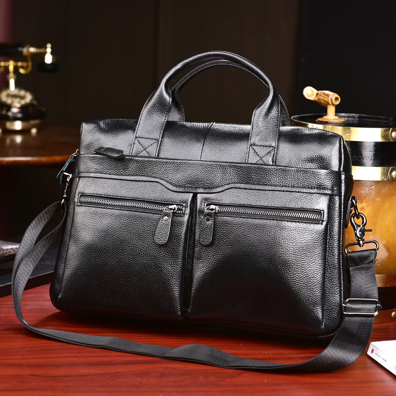2019 New Cow Genuine Leather Men's Bag Men's Handbag Computer Bag  Fashion Official Business Casual Men's Briefcase Totes 2.5
