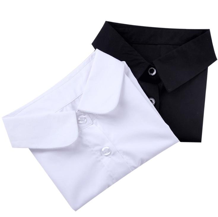 fashion young Ladies  Women Cotton Detachable Lapel lattice Shirt Fake Collar Solid Color Blouse Neckwear Clothing 5