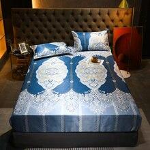 Pillowcase Mattress-Cover Fitted-Sheet Sleeping-Bed-Mat-Set Summer Flower National-Style