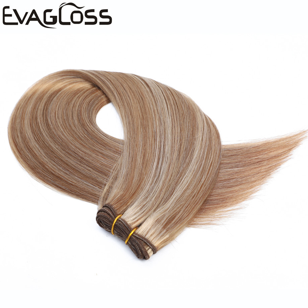 EVAGLOSS 50g High Quality Real Remy Human Hair Weft Weavon Cuticle Aligned Russian/European Human Hair Extensions