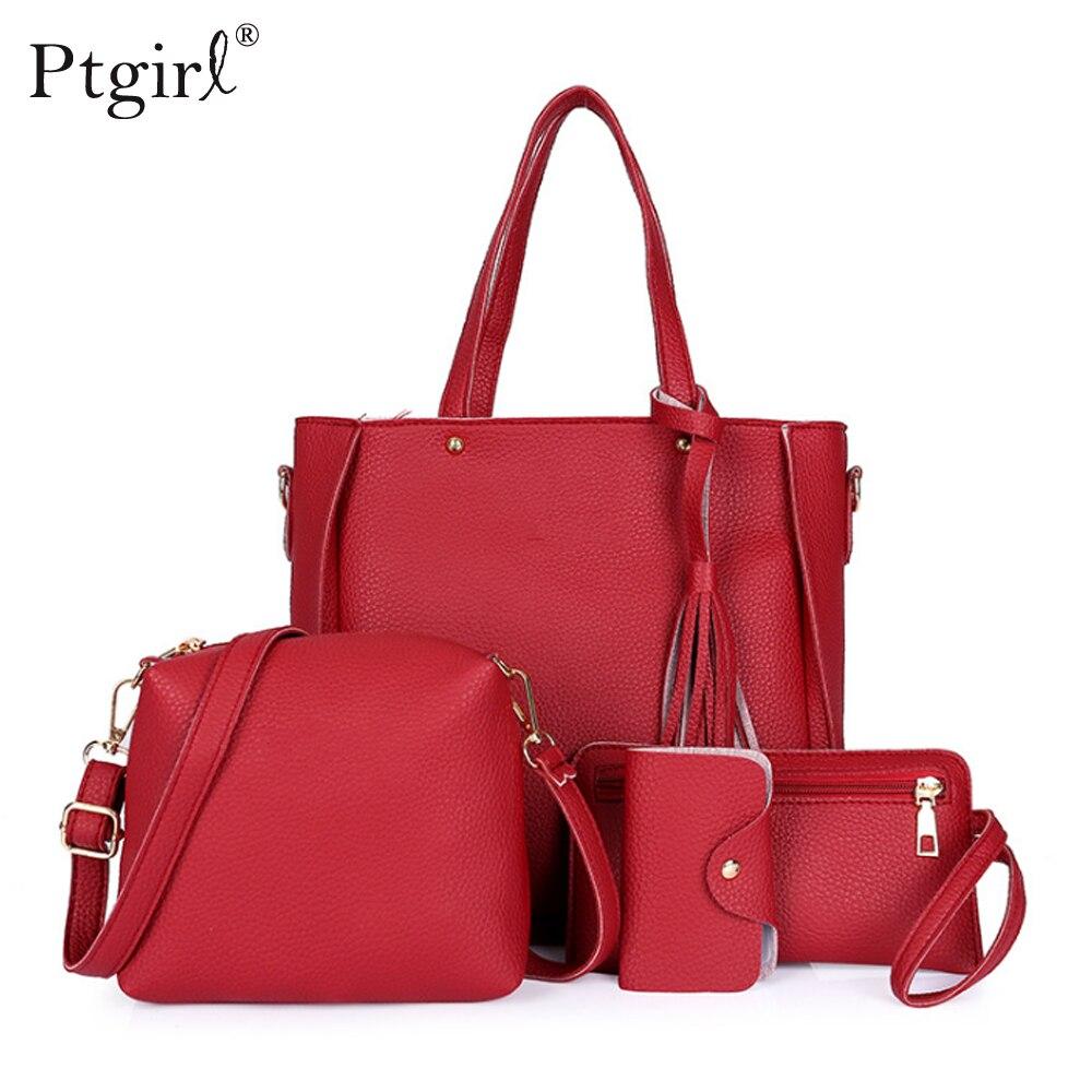 Woman Bag 2019 New Fashion Four-Piece Shoulder Bag Messenger Bag Wallet Handbag Ptgirl Bolsa Feminina Luxury Girls Messenger Bag