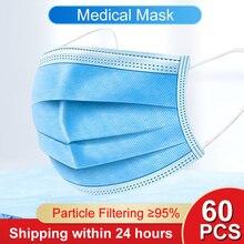 Echt Lager 60PCS N95 Einweg Chirurgische Anti-virus Medizinische Maske Ohrbügel Masken Anti-staub Atem Sicherheit Gesicht mund Masken