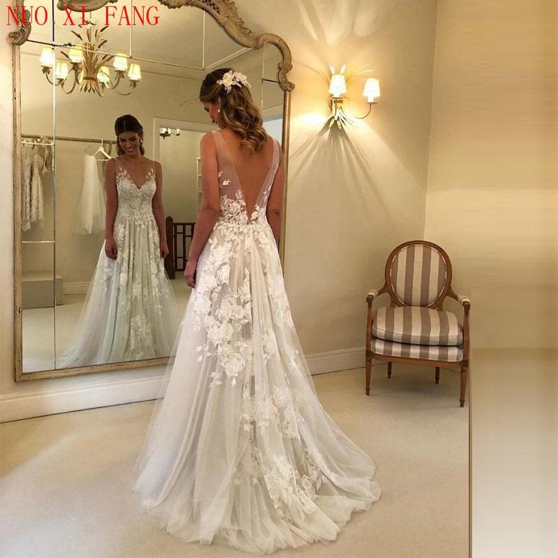 2020 Sexy V Neck Wedding Dresses Long Party Gowns Back Deep Appliques Vestido De Noiva Luxury Boho Beach Robe De Mariée