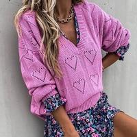 BOHO INSPIRIERT STRICKEN Casual V-ausschnitt frauen pullover Herbst winter lange hülse aushöhlen gestrickte pullover herz geformt damen pullover