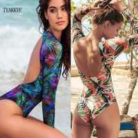2020 neue Rashguard Langarm Badeanzug One Piece Drucken Surf Bademode Frauen High Neck Bodysuit Schwimmen Anzüge backless Monokini XL