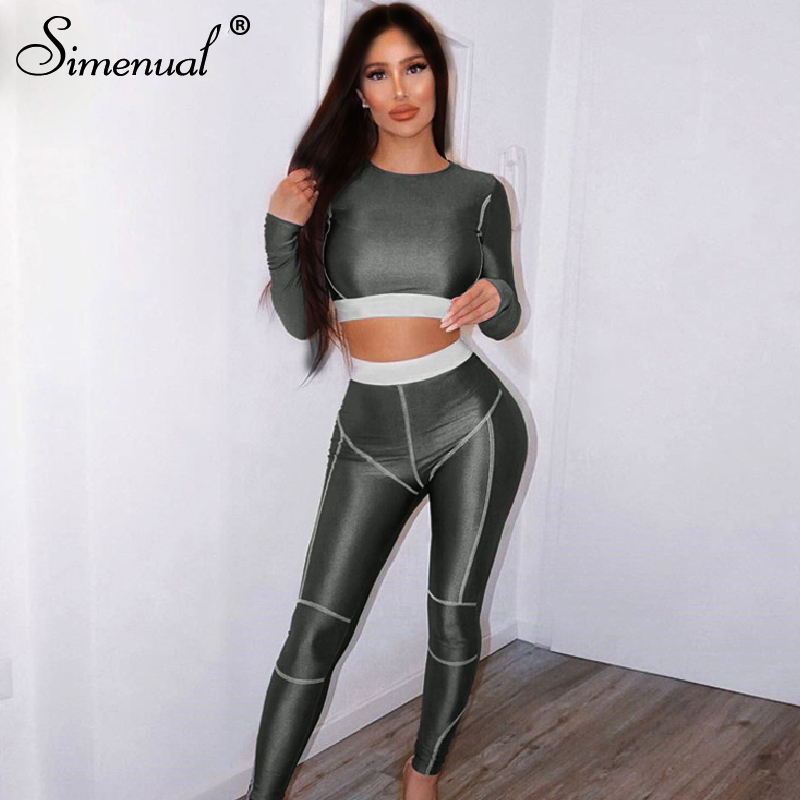Simenual Fitness Sporty Active Wear Tracksuits Women Casual Fashion Workout 2 Piece Sets Skinny Long Sleeve Top And Leggings Set