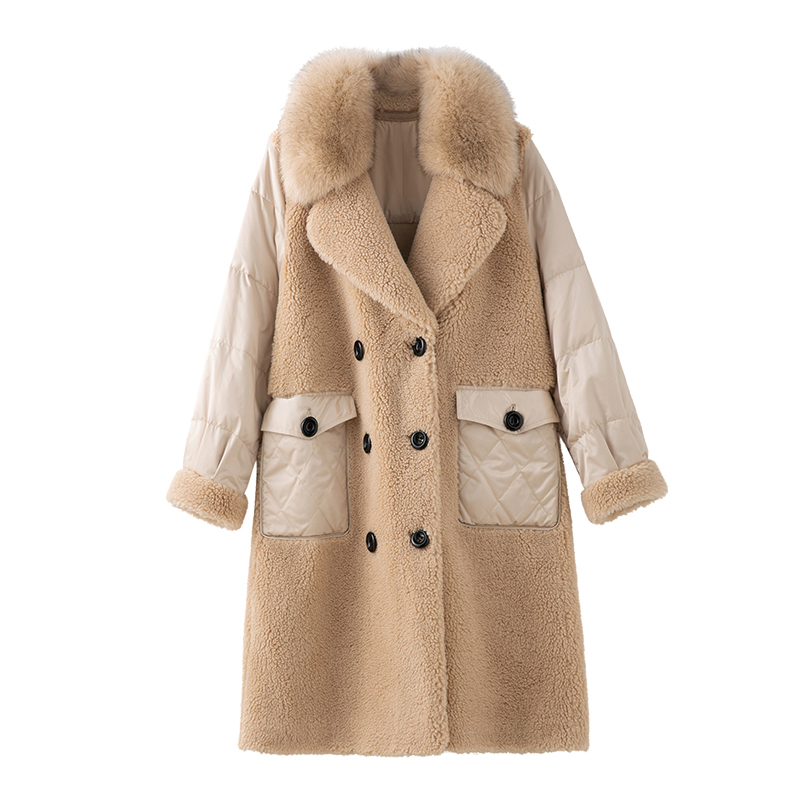 Real Fur Coat Female Vintage Long Sheep Shearing Jacket Women Clothes 2020 Korean Fox Fur Collar Wool Coats Fur Tops Hiver 9111 image