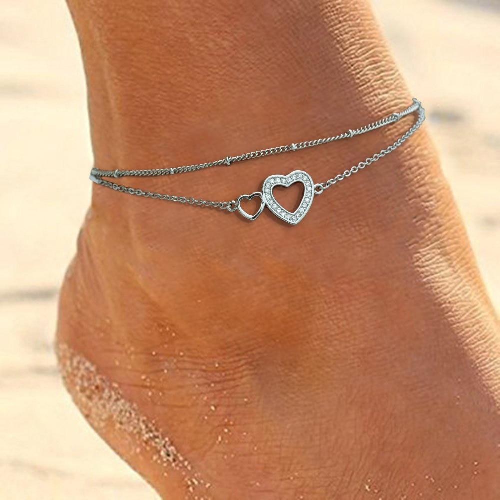 New Simple Boho Zircon Double Heart Female Fashion Anklets Barefoot Crochet Sandals Foot Jewelry New Anklets On Foot Bracelets