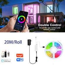 Wifi rgb led luzes de tira 5m 20m funciona com alexa para casa festa cozinha vida inteligente app controle remoto música sincronização 2.4g wi-fi