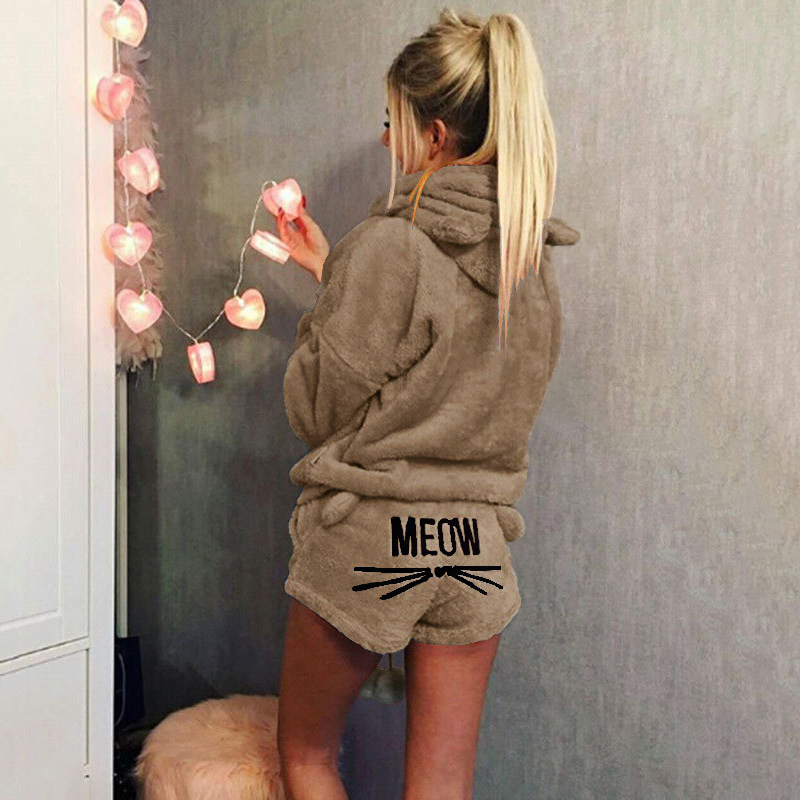 Women Coral Velvet Suit Two Piece Set 2019 Autumn Winter Pajamas Warm Sleepwear Cute Cat Meow Pattern Hoodie Shorts Set 2019 New