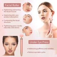 Electric Jade Roller For Face Eye Massage Rose Quartz Facial Rollers Vibrating Beauty Bar Skin Tightening Tool Waterproof 6