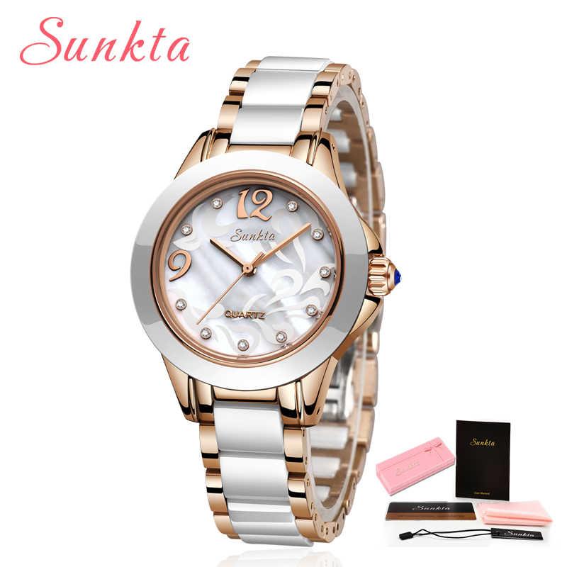 Sunkta 뉴 로즈 골드 시계 여성 쿼츠 시계 숙녀 톱 브랜드 럭셔리 여성 손목 시계 소녀 시계 아내 선물 zegarek damski