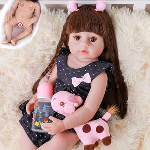 22 inch Original Lifelike Reborn Baby Toddler Girl Very Soft 56CM Full Body Silicone Doll Bath Toy Xmas Gift