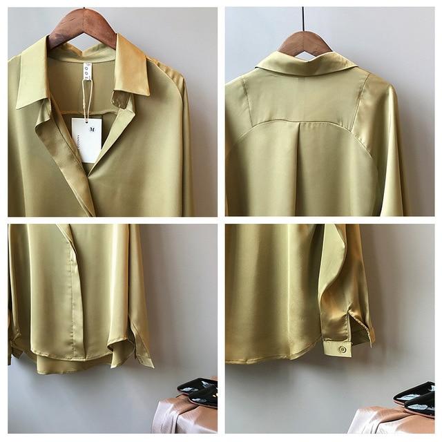 2021 Spring Women Fashion Long Sleeves Satin Blouse Vintage Femme V Neck Street Shirts Elegant Imitation Silk Blouse 5273 50 6