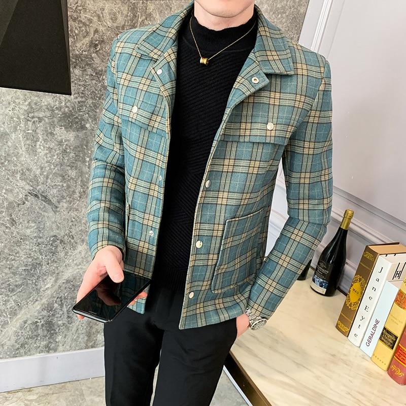 Синий плед 2019 мужские куртки узкие облегающие шерстяные куртки бомберы мужские дизайнерские пальто Ins мужские модные зимние пальто Коротки...
