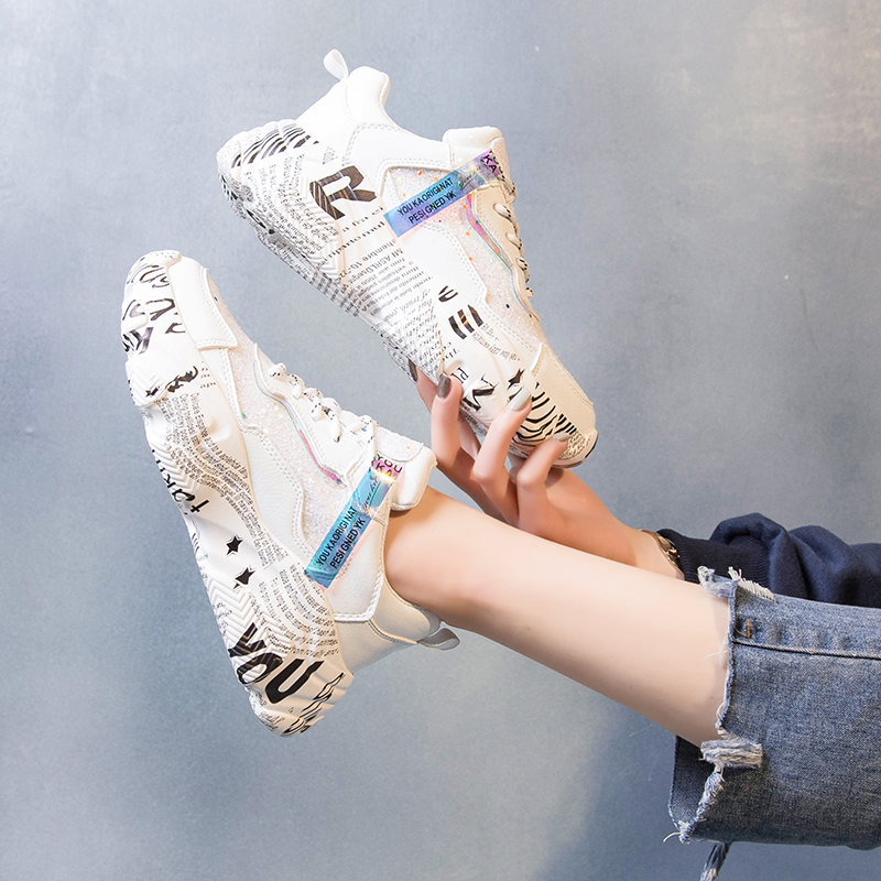 Women's Sneakers 2020 PU Splash Ink Laser High Platform Increasing Woman Hidden Trainers Luminous Chunky Heels Female Shoes