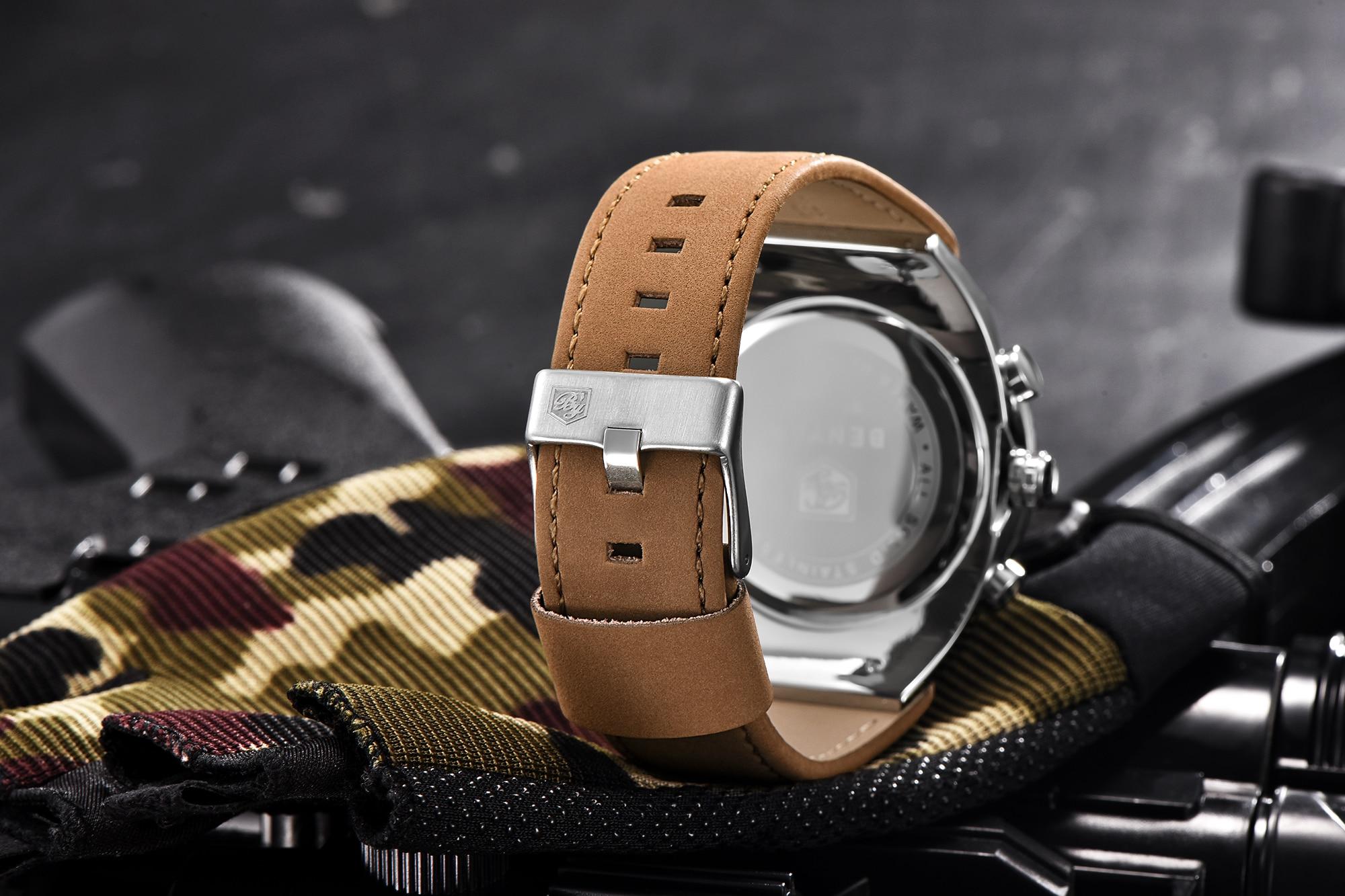 BENYAR Big Dial Sport Watch Men Waterproof Outdoor Military Chronograph Quartz Leather Watch Army Male Clock Relogio Masculino 5