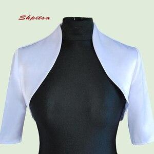 Short Sleeve Satin Wedding Wape Jacket Bridal Wrap Bolero Shrugs for Women(China)