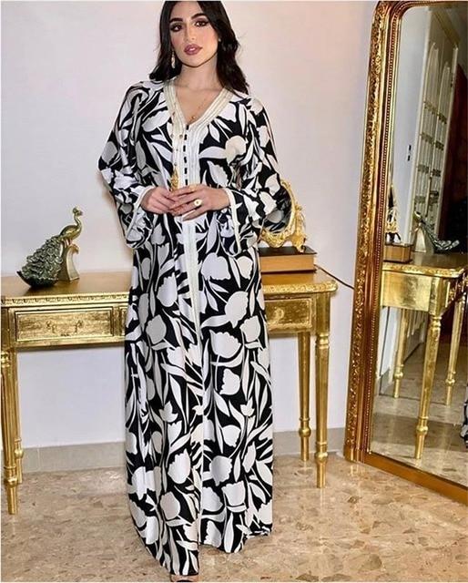 Ethnic Abaya Dress for Women Elegant Ribbon V Neck Long Sleeve Loose Plus Size Moroccan Turkey Arabic Muslim Clothes 1