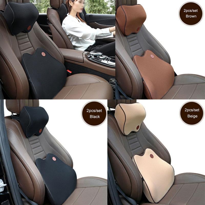 Headrest Neck Pillow Car Seat Back Support Cushion Chair Memory Foam Lumbar