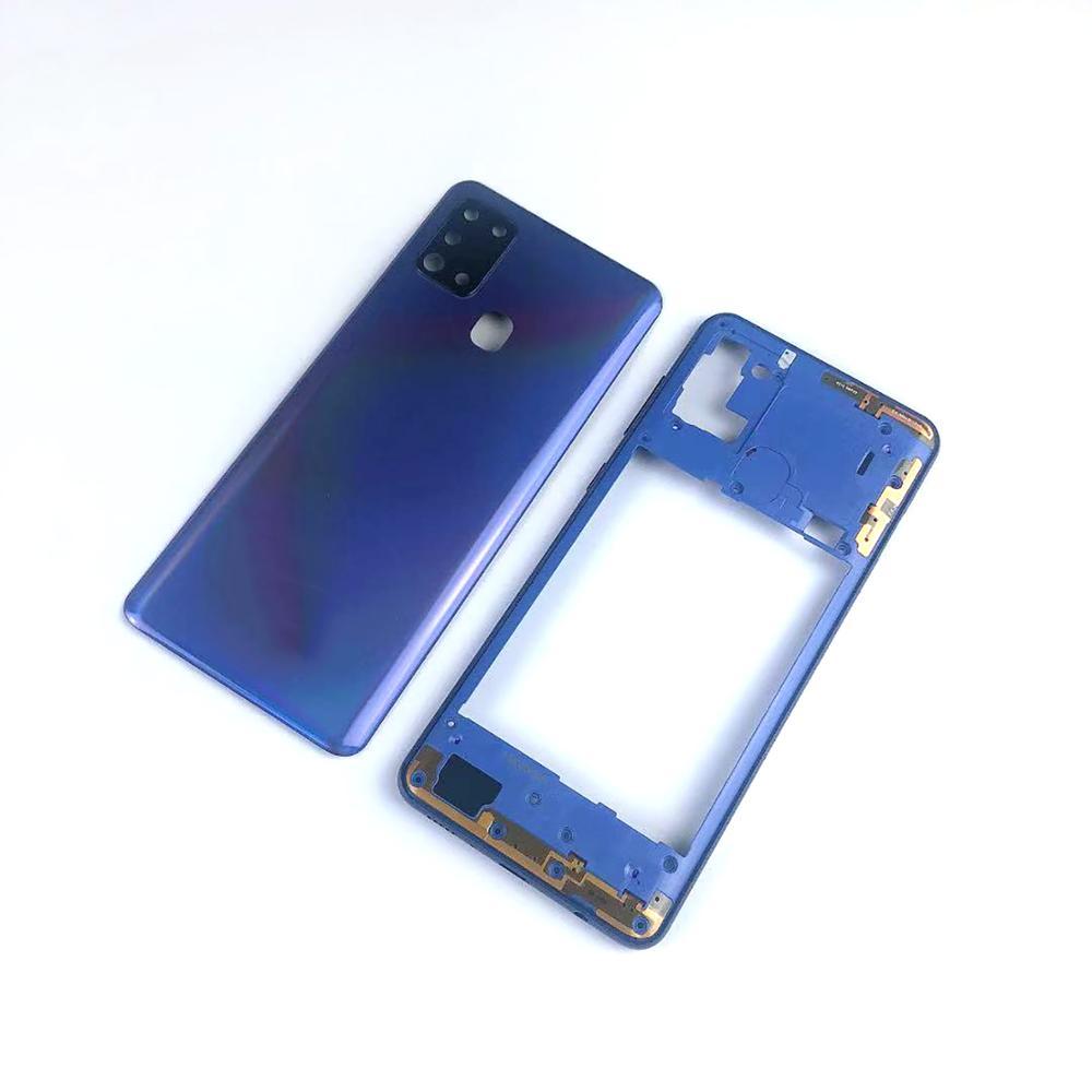 Чехол средней рамки для Samsung Galaxy A21S A217 A217F + задняя крышка батарейного отсека + крышка объектива камеры + логотип
