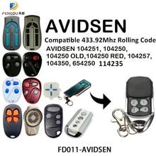 Garage Door 433mhz Rolling code Remote Control Compatible AVIDSEN 104251, 104250, 104250 OLD, 104250 RED, 104257, 104350