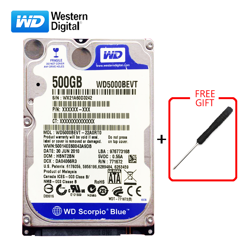 "WD Brand 500Gb 2.5"" HDD SATA Internal Hard Drive 500G HD Hard Drive 3-6GB/s 5400-7200RPM Blue hard disk for Laptop Free shipping"