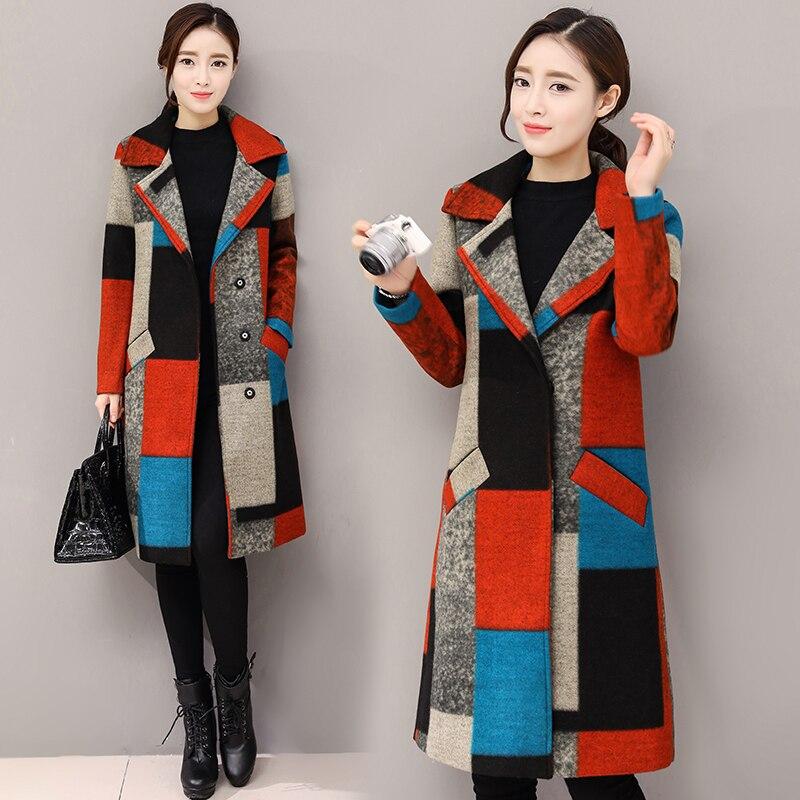 Manteau en laine pour femmes 2019 hiver rétro Plaid impression boutonnage col rabattu poche femme laine mélanges manteau en laine