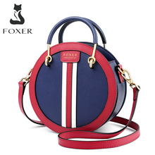 FOXER Womens Split Leather Round Crossbody Bag Female Small England Style Circular Handbag Lady 2020 Shoulder Bag Gift for Girl