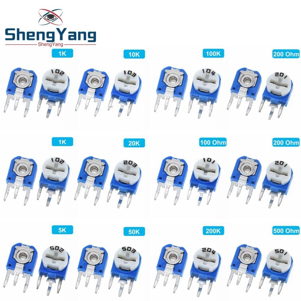 65 шт. RM063 набор вертикальных синих и белых регулируемых резисторов 100 Ом-1 м ом 13 видов * 5 шт. = 65 шт.