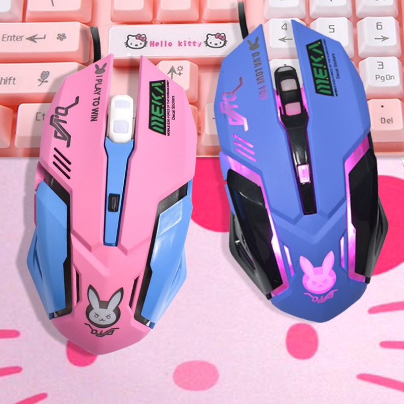 OW DVA Pink Game Office Mouse Girls Light-emitting Competition Chicken Cute Wired Wireless Mouse for PC Laptop CF Overwatch image