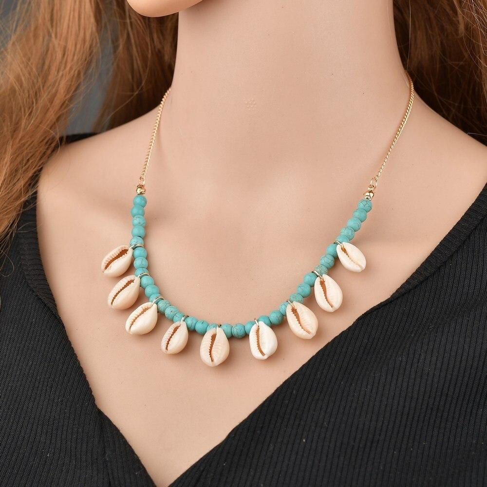 Ожерелье в стиле бохо, ожерелье из ракушек, модное ожерелье с подвеской из натуральных бусин, летняя пляжная бижутерия, ожерелье в подарок