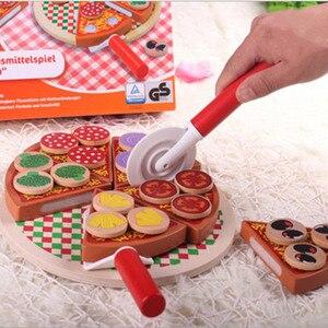 Image 3 - 27 sztuk udawaj zagraj w symulację drewniane Kichen cięcie pizzy zestaw zabawek do odgrywania ról gotowanie zabawki wczesny rozwój zabawki dla dzieci prezent