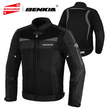 BENKIA Summer Motorcycle Jacket Men Motocross Jacket Jaqueta Chaqueta Moto Protection Motorbike Riding Breathable Moto Jacket(China)