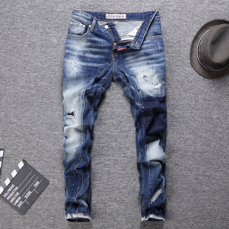 Italian Style Fashion Men Jeans Retro Blue Spliced Paint Slim Ripped Jeans Men Punk Pants Streetwear Hip Hop Biker Jeans Homme