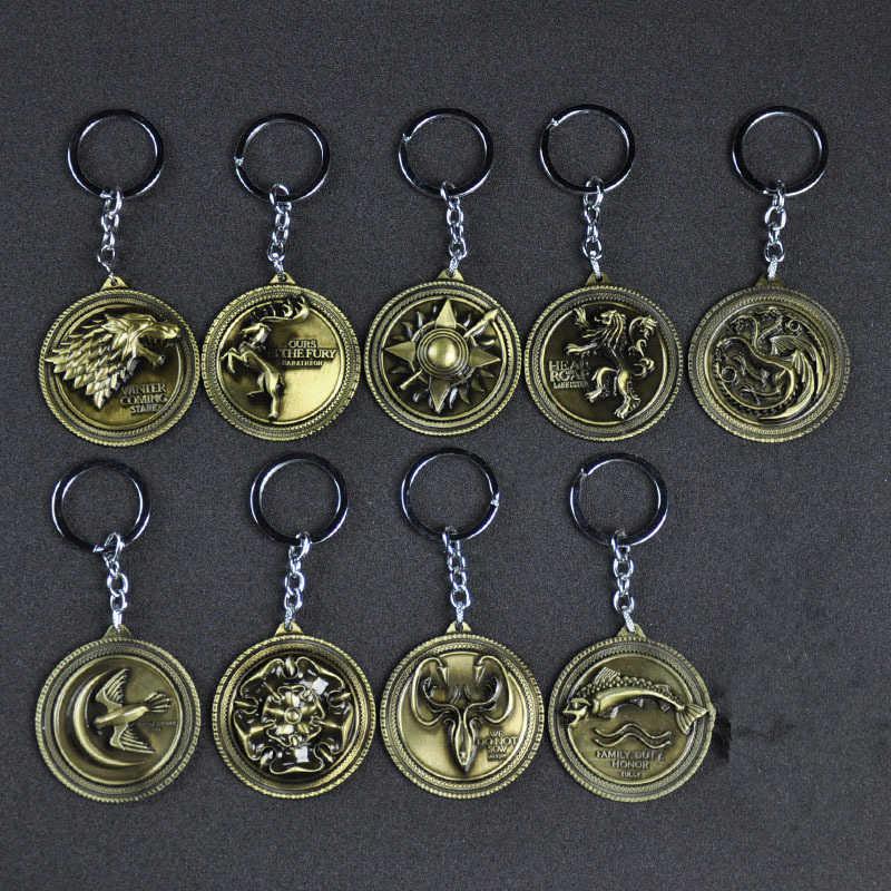 لعبة من عروش تأثيري الدعامة 9 كبير الأسرة شارات المفاتيح قلادة حلقة رئيسية اكسسوارات