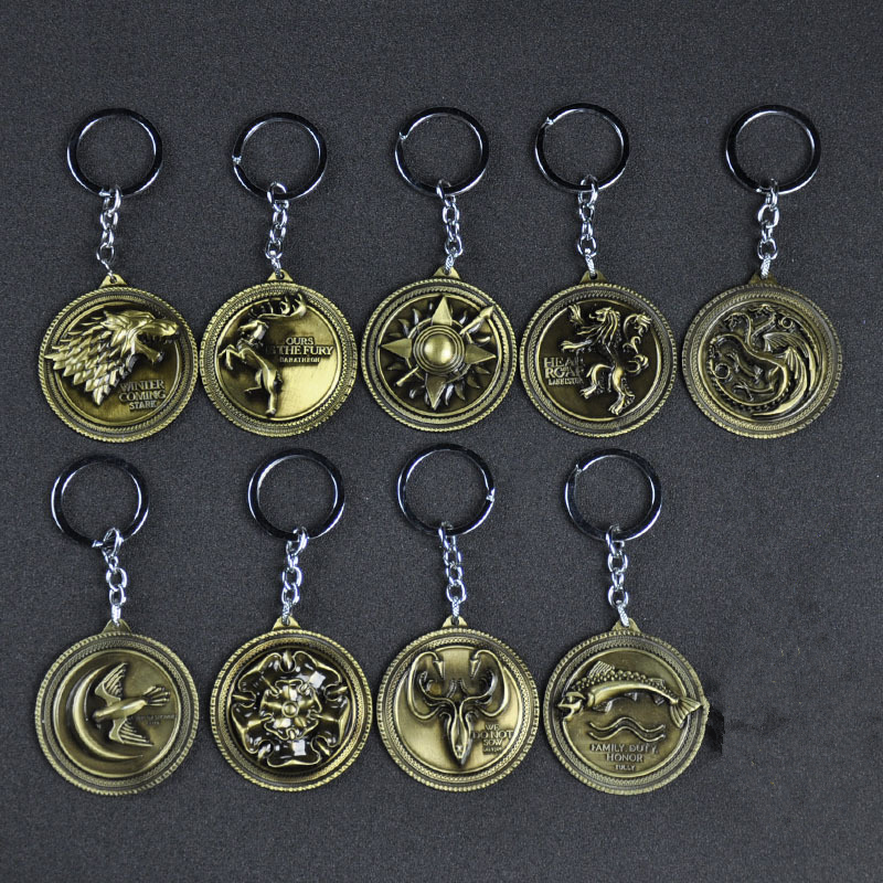 Game Of Thrones Cosplay Prop 9 Big Family Badges Keychain Pendant Key Ring Accessories
