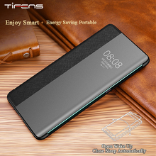 Luxury Genuine Leather Mate30pro Flip Case For Huawei P30 Mate 30 20 X 5G Pro Lite Smart View Window Touch Official Phone Cover