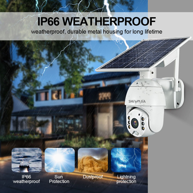 SHIWOJIA 4G / WI-FI Version 1080P HD Solar Panel Outdoor Surveillance Camera Smart Home Alarm Long Standby for Farm Ranch Forest 5