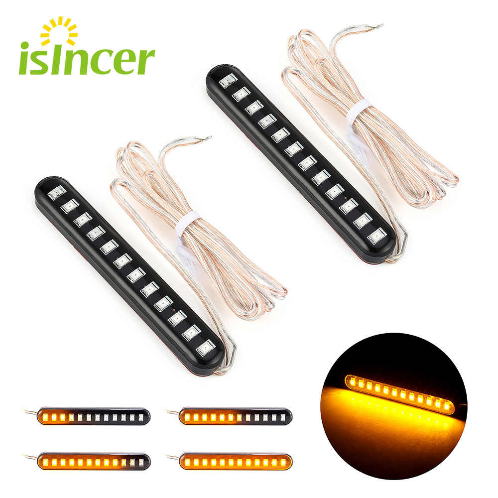 2 Pcs Richtingaanwijzers Moto Rcycles Clignotant Moto Led Signal Lights Sequentiële Water Vloeiende Mini Strips 12 Led Flasher Verlichting